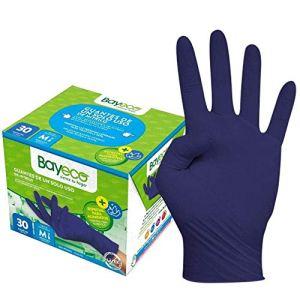 Bayeco Lot de 30 gants en nitrile Bleu