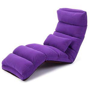 Chaise de sol Lazy Canapé seul étage Canapé Pliable dossier Chaise Chambre Baie vitrée Chaise moderne Simplicité Canapé-lit L175 × W56cm mwsoz (Color : Purple)