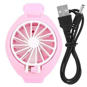 chengong 【Spécial Nouvel an 2021】 Sangle de Poignet Mini Ventilateur Exquis en Forme de Montre, Ventilateur électrique Doux, Chargement USB pour Enfants Adultes Camping Voyage en Plein air(Pink)