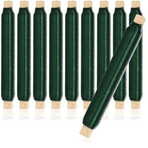 com-four® 10x Jeu de Fils pour enrobage de Fleurs, Fil de Reliure Vert enroulé sur Un bâton en Bois, épaisseur 0,65 mm, 1000 g