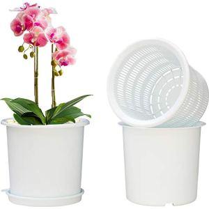 CTHC Plastique Pot D'orchidée Pot de Filet de Plante Ronde Pot de Contrôle de Racine en Plastique Pot de Plante Ronde Pot de Jardin avec Trous et Maille Double Ronde Intérieure Et Extérieure pour Les