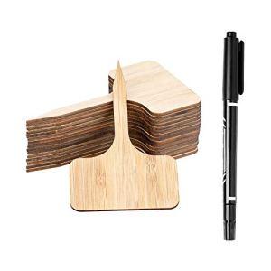 Dsaren 50 Pièces Étiquettes de Plantes Bambou avec Stylo Noir T Type Marqueur Jardin pour Herbes Fleurs Graines Pot Légumes (Couleur du bois)