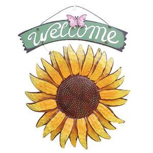 EASYBUY Garden Welcome Signs en Métal Suspendus Yard Art Décoratif en Plein Air Garden Signs, Décor De Tournesol Extérieur Peint À La Main, Plaque De Bienvenue pour Porte D'entrée