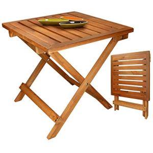 ECD Germany Table Pliante d'Appoint – Table Basse pour Jardin Terrasse Balcon Camping – Intérieur/Extérieur- en Bois de Pin – Compacte – Rectangulaire – 46 x 46 x 46 cm – Facile à Transporter
