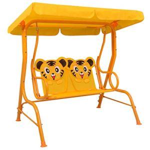 Festnight Balancelle pour Enfants Jardin Balancelle avec Auvent Tissu Jaune 115x75x110 cm