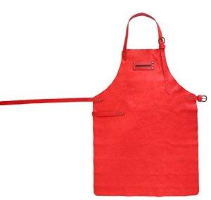 FEUERMEISTER 8701040202 Tablier en cuir avec poches Rouge Taille 2