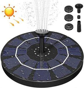 Fontaine à eau solaire – 2,5 W – Pompe solaire avec 6 buses – Fontaine flottante pour jardin, bassin à oiseaux, piscine, aquarium