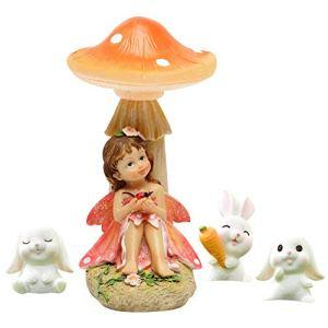 FYHappy Décorations de jardin en plein air, petite fée assise sous un champignon avec de petits lapins blancs, accessoires de jardin féérique, décorations de jardin miniatures
