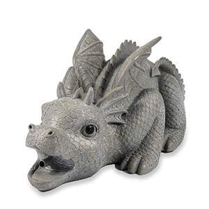 Gargouille Figurine Dragon Grisu En Pierre Synthétique – (L X Largeur X Hauteur): Env. 330 x 220 X 200 MM – Raccord de Tuyau 13 – Longueur Du 1,4 M – Jardin D'Eau Déco Figure D' Étang , Esotec 100735