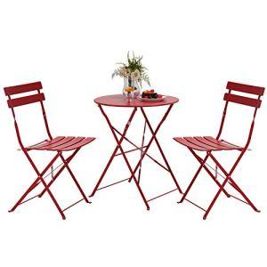 Grand patio Ensemble Table et Chaises, 2 Chaises Pliables et 1 Table Ronde, Diverses Couleurs, Salon de Jardin, Acier thermolaqué, Salon de Jardin pour Balcon, Jardin, Intérieur, Extérieur (Rouge)