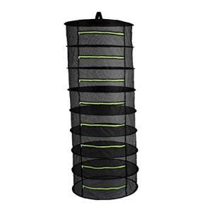 Herb Séchoir suspendu Mesh net 8 couches anneaux en acier pliable Fermeture à glissière pour pétales haricots Buds (60x160cm) Gadgets maison