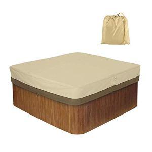 HEWYHAT Housse carrée pour Bain à remous, Housse Anti-poussière pour Piscine de Jardin Spa résistant à UV en Tissu imperméable 420D, Beige,239×239×50cm