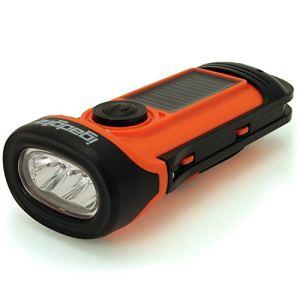 igadgitz Xtra U4456 Lampe Torche LED Rechargeable Solaire & Manivelle Étancheà 5m – Orange