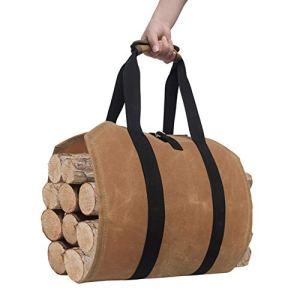 JLSTYL Sac de transport en toile cirée pour bûches de cheminée, pour le camping en plein air
