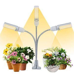 JS Lampe LED pour plantes – 60 W – Spectre complet – 132 LED avec fonction d'allumage de minuterie – 6 types de luminosité – Adaptateur USB – Pour plantes d'intérieur de jardin