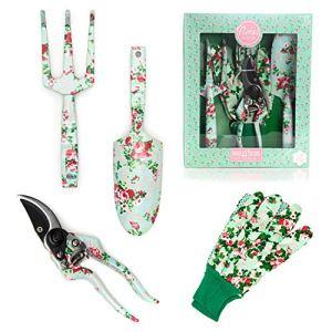 Kira & Trixie Ensemble d'outils de Jardinage avec Gants de Jardinage Motif Floral