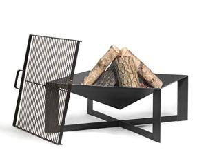 KORONO ® Brasero avec poignée, grille de cuisson carrée (acier brut) (bol 70 x 70 cm Ø, grille de cuisson 58 x 58 cm).