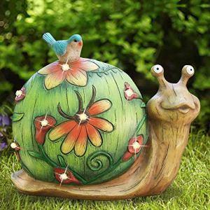 La Jolíe Muse Décoration de jardin solaire en forme d'escargot – Statue de jardin à énergie solaire, figurine animale pour cour, pelouse, décoration de maison, cadeau, 25,4 x 21,6 cm (escargots)