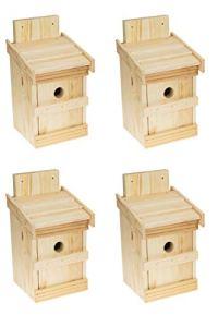 Lot de 4 nichoirs en bois naturel pour mésanges bleues et petites espèces de mésanges – Solide – Avec trou d'entrée de 32 mm – Pour oiseaux