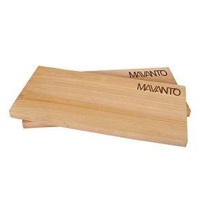 MAVANTO® Planches à fumer XXL – Planche en bois de cèdre canadien pour griller – Extra épaisses (30 x 14 x 1,5 cm), durable et réutilisable (lot de 2)