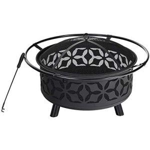 miwaimao Grand brasero en acier de 73,7 cm avec découpe pour cheminée, avec écran et écran de cheminée Noir