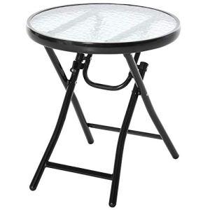 Outsunny Table Basse Ronde Bistro de Jardin Ø 45 x 50H cm Pliable métal époxy Noir Plateau Verre trempé