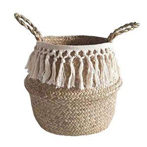 Panier en jonc de mer avec partie supérieure pliable pour le rangement du linge, pique-nique, cache-pot de fleurs, sac de plage,Panier de ventre jonc de mer, Osier Panier de Fleur paniers