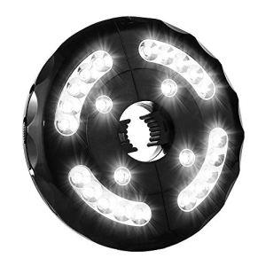 Parasol Éclairage LED 3 Modes Éclairage Parasol 24 LED Lampe Parasol à Piles Lampe LED Sans Fil Veilleuse pour Jardin Plage Extérieur BBQ Camping Lumière Blanche Noir