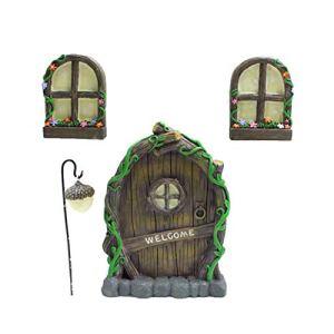 Porte d'arbre et arbre de fenêtre, statue d'arbre d'extérieur, décorations d'arbre de fée miniature, porte de fée et fenêtres pour arbres, porte de fée en poly-résine finie à la main