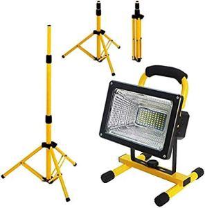 Projecteur de travail à LED 300 W 6000 lumens avec trépied 4 modes de luminosité Batterie intégrée 26800 mAh en métal télescopique