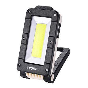 Projecteur Travail Rechargeable Lampe de Camping LED Portable lumière Travail de Chantier Orientable 180°,USB Port IPX4 magnétique Base,de voitures, pêche, éclairage et éclairage de chantier,Secours