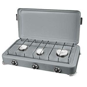 PROWELTEK Silver 3 Plaque de cuisson gaz portable 3 feux 3000W Butane/Propane Bruleurs inox Couvercle