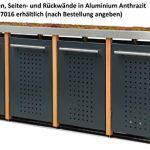 Reinkedesign Cache-poubelle en acier inoxydable avec poteaux en mélèze (1 x 240 l + 2 x 120 l, bac à fleurs et design en T