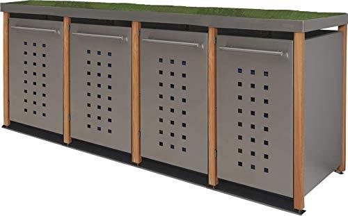 Reinkedesign Cache-poubelle en acier inoxydable avec poteaux en mélèze (4 x 120 l, bac à fleurs et design en T)