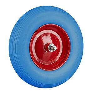 Relaxdays, Bleu Rouge brouette, Roue de Rechange avec axe, 4.80 4.00-8, Caoutchouc PU essieu 100 kg