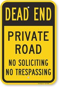 Smartsign Traffic Sign, Legend»Dead End Private Road n'Soliciting Entrés», Noir sur jaune, 18″ x 12″, Black on Yellow, 1