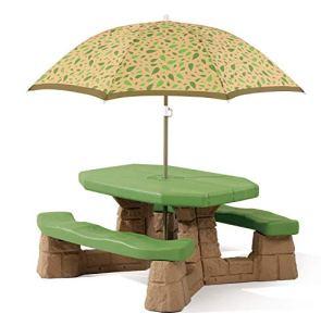 Step2 Naturally Playful Table Picnic Enfant avec Parasol | Banc Pique Nique pour Enfants en Plastique