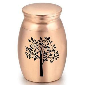ukoudadao9haowanh Petite urne funéraire en alliage pour cendres humaines, arbre de vie (or rose)