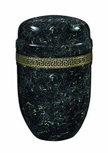 Urns UK 18.2x 18.2x 27.6cm Acier Casablanca Purley Marbre avec Bande Adulte Urne funéraire pour Cendres Métal Urne, Noir/Blanc