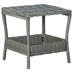 vidaXL Table de Jardin Table Basse d'Extérieur Meuble de Patio Table de Terrasse Meuble de Jardin Arrière-Cour Balcon Gris Clair Résine Tressée