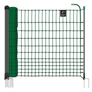 VOSS.farming Filet de clôture pour volailles farmNET, Longueur 25 m, Hauteur 112 cm, 9 piquets, 2 Pointes, Vert, Non électrifiable