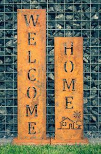 Wellcome + Home – Support en patine de SteelTastic ★ Lot de 2 ★ Décoration parfaite pour le jardin, l'entrée de la maison ou la terrasse ★ Qualité supérieure « Made in Germany ».