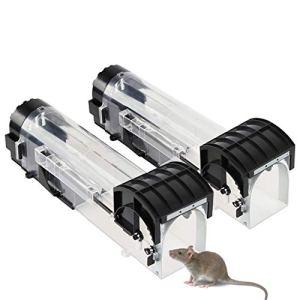 Xingsky 2 Pièces Piège à Souris,Réutilisable Piège à Rat Vivant, Attrape Souris Utilisable pour Intérieur Extérieur Maison, Grenier, Garage, Cuisine, Jardin