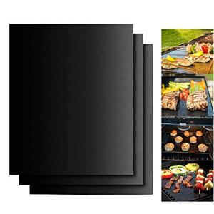 YesDone Lot de 2 Tapis de Cuisson Anti-adhésifs pour Barbecue au Charbon, au gaz ou électrique Noir