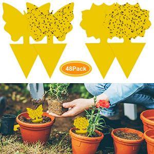 48Pcs plug-in piège à mouches plaques jaunes autocollant jaune plante de protection contre les pucerons, les mouches des feuilles et la vermine, idéal pour les plantes sur le balcon ou dans le jardin