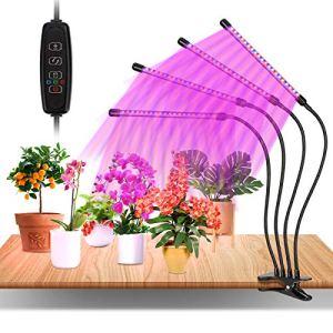 80W Lampe Horticole, 4 Têtes Grow Light à 360° Éclairage Horticole 10 Luminosités 3 Modes Lampe Plante Spectre Complet Avec Chronométrage AUTO – ON/OFF 3H / 9H / 12H