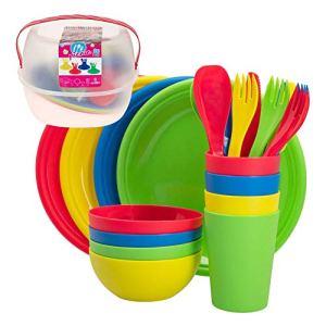 Aktive Lot de vaisselle de pique-nique pour 4 personnes en plastique rigide réutilisable