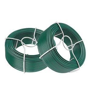 Amagabeli 2 x 100M Fil Acier Plastifie Diamètre 1.5mm Rouleau de Fil Métallique Enduit de PVC Fil de Fer de Jardin Fil d'attache en Plastique Vert pour Les Plantes et Le Jardin Jardinage WR8