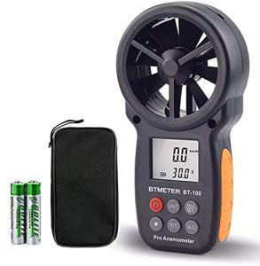 Anémomètre Numérique Portable,BT-100 Compteur de Vitesse du Vent avec Conception Installable,Affichage LCD Anémomètre avec MAX/MIN/AVG pour la Vitesse du Vent,Température ,Refroidissement éolien