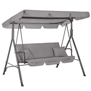 Balancelle 3 places avec toit pare-soleil amovible et inclinable | Banc à bascule pour jardin et terrasse | Charge maximale : 210 kg | Balancelle de jardin